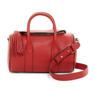 Milly Astor Leather Duffle Purse in Red